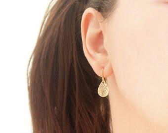Small Teardrop Earrings in Gold Filled, Pear Shaped Drop Hammered Earrings, Classic Everyday Earrings