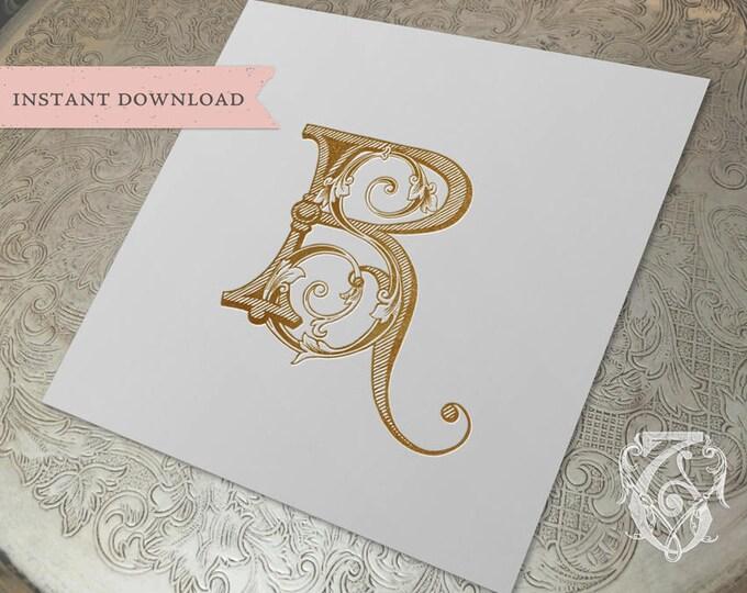 Vintage Wedding Monogram SR RS Digital Download S R