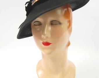 1940s Miss Ruth Hat - Black Straw 1930s Hat - Hat with open crown - Black 1930s Hat - Jaunty 30s Hat