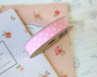 Pink & White Polka Dots grosgrain ribbon