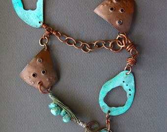 Copper Dance Necklace Organic Copper Shapes w Chocolate Brown and Turquoise Patinas Extra Long Dangles Gypsy Boho Jewelry