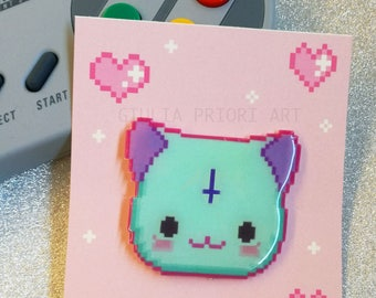 PIXEL Pastel goth Cat HANDMADE PINS
