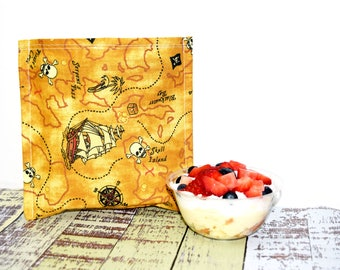 Reusable Sandwich Bag | Snack Bag | Eco Friendly | Waste Free Lunch Bag | Zero Waste | Lunch Bag | Pirate | Treasure Map