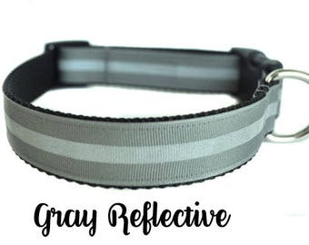 Gray Reflective Dog Collar