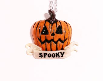 Spooky Pumpkin Necklace. Halloween Gifts. October, fall, all year.