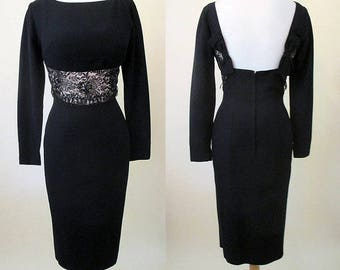 Chic 1950's Cocktail Party Dress with Plunging back, shelf bust  & bead work Hollywood style Rockabilly Pinup Girl Size Small/Medium