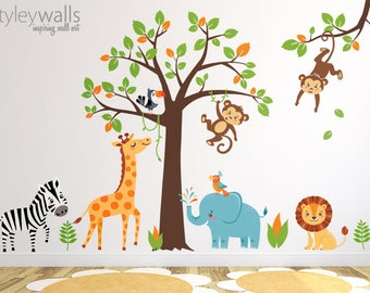 Jungle Wall Decal, Safari Wall Decal, Jungle Animals Wall Sticker, Safari  Animals Sticker