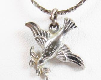 Vintage Sterling Dove of Peace Pendant with Necklace