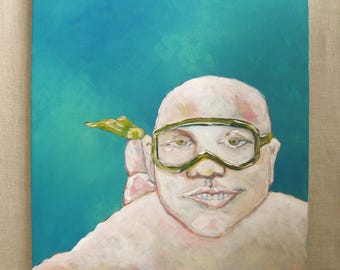 Male Snorkeling Portrait Painting, Wil Shepherd Studio, Portraiture, Swimmer, Diver, Original Fine Art, Acrylic,Gallery Wrapped Canvas,OOAK