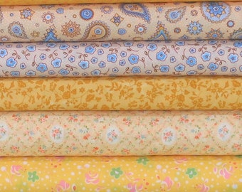 WEEKLY SPECIAL and Free Shipping! Yellow & Gold Bundle of 8 Quarter Yard Cuts, Cotton Quilt Fabric Bundle on Sale