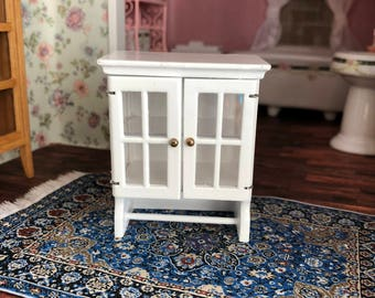 Miniature Cabinet, Wood Towel Cabinet With Bar, Doors and Shelf, Dollhouse Miniature, 1:12 Scale, White Wall Cabinet, Dollhouse Accessory