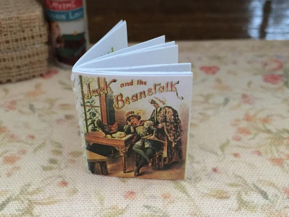 """Miniature Readable Book with Illustrations, """"Jack and the Beanstalk"""", Dollhouse Miniature, 1:12 Scale, Mini Book With Text"""