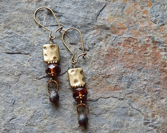 Amber and black brass dangle earrings - picasso czech glass teardrops - faceted golden brown glass dangles - bohemian style - autumn fashion