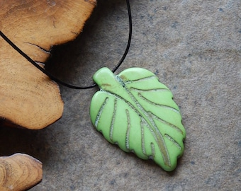 Stone leaf pendant necklace - metal free - unisex - stone and leather - carved leaf - green stone - rustic jewelry - boho - allergy free