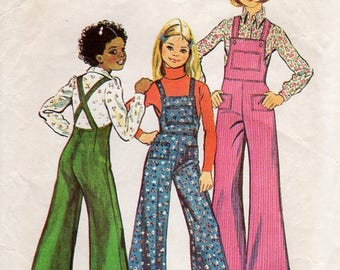 1970s Girls Bell Bottom Overalls - Vintage Pattern Simplicity 6125 - Size 8