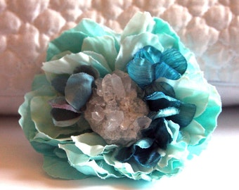 Turquoise and Quartz Hair Flower Clip // High End Headpiece for Women / Luxury Hair Accessories with Crystals