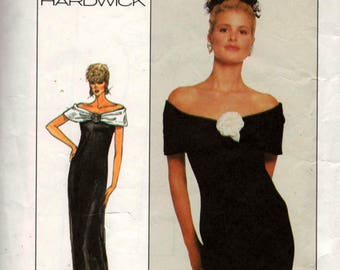Simplicity 8351 CATHY HARDWICK Off the Shoulder Cocktail Prom Gown Maxi & Rosette Trim 80s Vintage Sewing Pattern Size 10 Bust 32 1/2 inches
