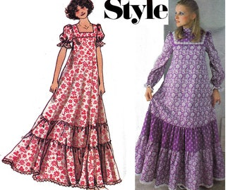 Style 1303 Womens Boho Maxi Peasant Tent Dress 70s Vintage Sewing Pattern Size 14 Bust 36 inches