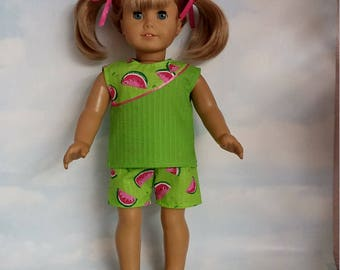 18 inch doll clothes - Watermelon Shorts and Top handmade to fit the American girl doll - Free Shipping USA
