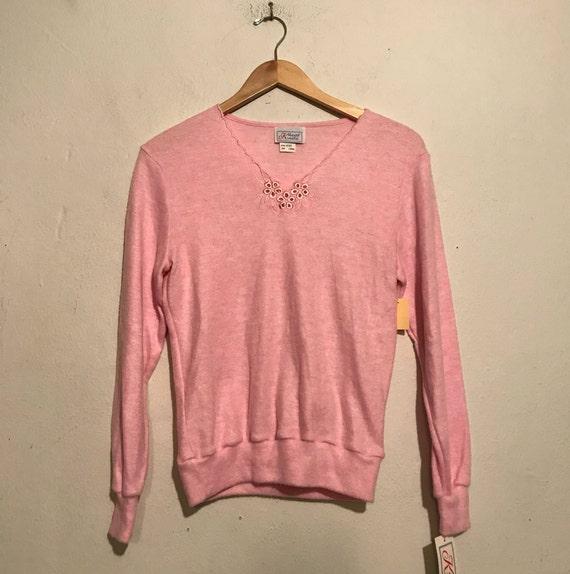 80s Baby Pink Fleece Pullover