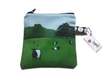 Belted Galloway Painting zippered pouch by SBMathieu
