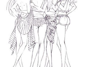 fashion coloring page 4 friends at the beach - Fashion Coloring Pages