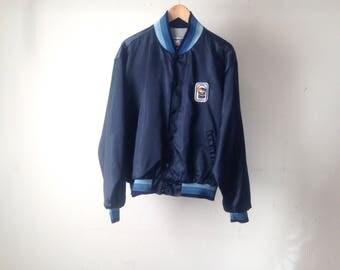 vintage 80s NYLON navy blue BOMBER silky coat jacket men's XL