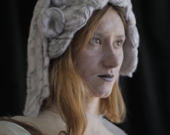 Marble Sculpture Headdress - needle felted / hat / costume / theater costume / sculptural hat / costume design / unique / weird / art hat