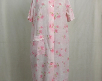 Vintage 1970s Pink Floral Katz Coat Lounge House Dress ~ Large
