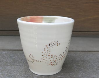 Handmade Ceramic Cup, Coffee Cup, Pottery Cup, Tea Cup, Hand Drawn Dots One of a Kind Gold Rustic, Artisan Pottery by Licia Lucas Pfadt