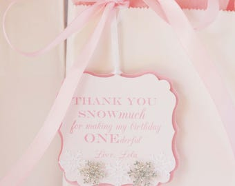snowflake favor tags - winter onederland favor - onederland favor - snowflake birthday party - gift tag - winter birthday tag