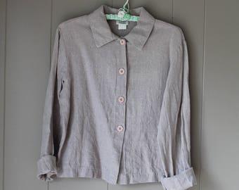 Vintage Eileen Fisher Woven Linen Jacket Ecru Short unlined sandy beach casual summer coat