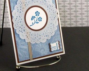 Birthday Card Handmade Happy Birthday for You Best Wishes Pretty Doily Blue Cornflower Bday Card