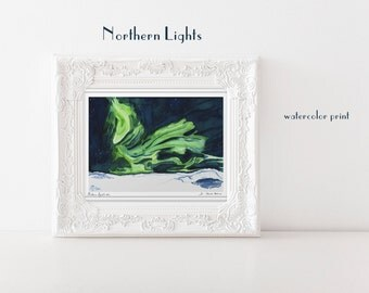 Northern Light Wall Art Aurora Borealis Watercolor Art Print Travelers Gift Iceland Art Housewarming gift for Him Celestial Print Starry Sky
