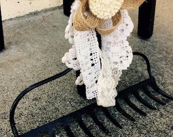 Rake head rack hook black vintage farm shabby lace burlap bow