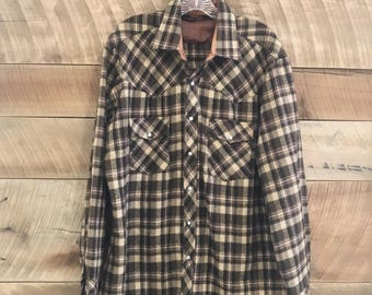 Vintage KMart Brown Plaid Flannel Shirt - XL