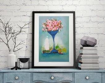 "Modern still life oil on canvas Pink coral teal green, 20""x30"" original oil, turuqoise wall art, modern kitchen art, Boho house style art"