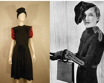 Fire Bursts Above Her Head - Vintage 1930s Black Crepe Rayon Dress w/Fire Red Flame Beading - 4/6