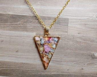Colorful Quartz Triangle Necklace - Druzy Triangle Pendant - Arrow Necklace - No. 2