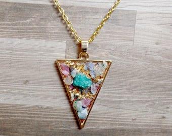 Colorful Quartz Triangle Necklace - Druzy Triangle Pendant - Arrow Necklace - No. 3
