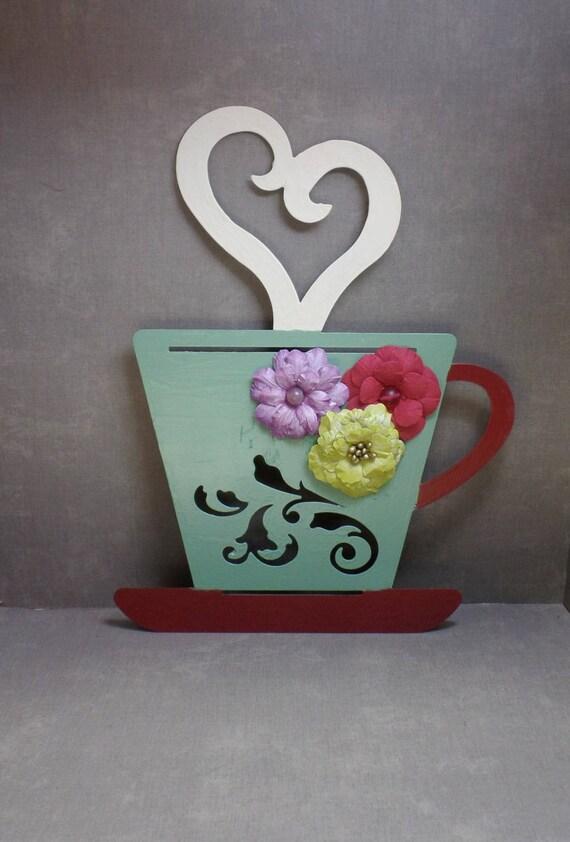 Green & Red Bohemian Metal Coffee Cup - Coffee Mug Wall Hanging - Mug Wall Decor - Coffee Wall Art