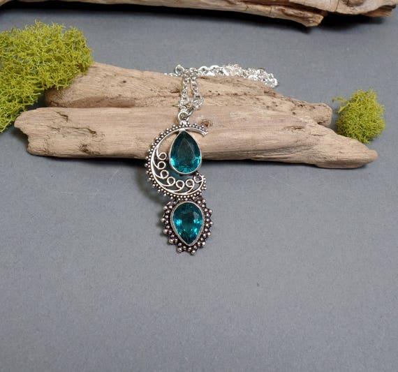 Topaz Paisley Necklace - Gemstone Necklace - Blue Topaz Pendant - Blue Pendant Necklace - Free US Shipping