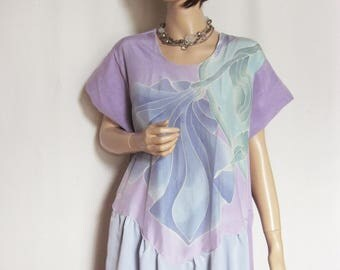 XL to 1X  Hand Painted Silk Tunic