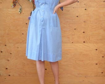 Vintage 50's Retro Blue Gingham And White Button Up Day house Dress SZ M/L