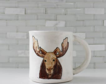 Moose Mug | ceramic clay coffee mug tea cup | teal interior | woodland animal western rustic mountain | in stock