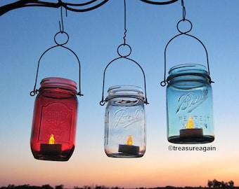 Patriotic Mason Jars Lanterns or Vases, Red White Blue, USA , Stars & Stripes