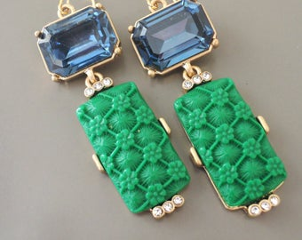 Art Deco Earrings - Vintage Inspired Earrings - Emerald Earrings - Sapphire Earrings - Gold Earrings - handmade jewelry