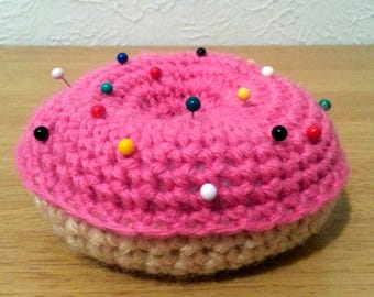 Pink Frosted Crochet Donut, Pin Cushion. Needle Holder, Decorative Plush Food