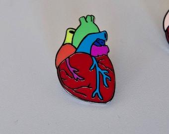 Gay Pride Pin Rainbow Anatomical Heart Enamel Pin LGBTQ Gay Pride Rainbow Pride Hard Enamel Gay enamel pin