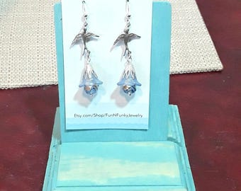 Silver and blue bird with lucite flower and pearl earrings. Sterling silver earring hooks